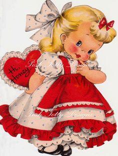 Etsy の Hi Valentine Vintage Digital Download by poshtottydesignz