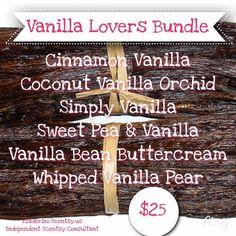 Vanilla Lovers Bundle for Scentsy wax bars Https://rzaderiko.Scentsy.us Facebook.com/rzaderikosic