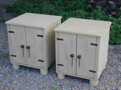 """(RS 29) Rustic Khaki Cabinet / Side Table. Dimensions L455 x W455 x H555mm.  Price R1120 each Can be ordered in the dimensions and colours of your choice and in """"rustic"""", """"whitewash"""" or """"shabby chic"""" finishes! For a full price list email humanr@telkomsa.net FB: http://www.facebook.com/RoesSkroef"""