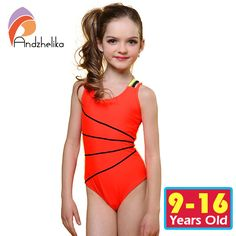 32c10d8c6c Andzhelika 2017 Swimsuit Girls One Piece Swimwear Solid Bandage Bodysuit Children  Beachwear Sports Swim Suit Bathing Suit AK8675