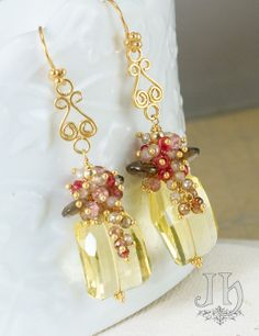 Hadara Earrings ... Lemon Quartz Brown Zircon by JewelleryHaven I like the bottom part of the earring