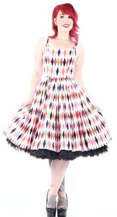 Jenny Gathered Full Skirt in 1950s Harlequin Print