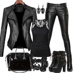 What Are The Best Places To Find Gothic Fashion Accessories? Komplette Outfits, Winter Outfits, Casual Outfits, Fashion Outfits, Womens Fashion, Black Outfits, Fashion Vest, Casual Jeans, Fashion Advice
