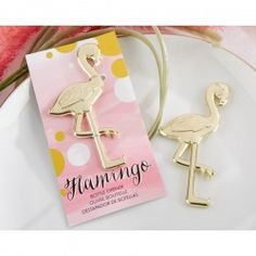 Have some fun at your beach-themed wedding with the Fancy and Feathered Flamingo Bottle Opener from Kate Aspen. This retro wedding favor features a gold finish and can pop a top or 2 if you need to open up a bottle. Retro Wedding Favours, Gold Wedding Favors, Gold Wedding Theme, Tropical, Gold Pineapple, Flamingo Party, Fabric Gifts, Little Gifts, Fancy