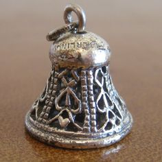 antique sterling silver church bell charm