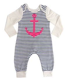Love this Blue & Pink Anchor Playsuit - Infant by Lake Park Kids on #zulily! #zulilyfinds