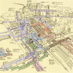 Illustrated Cross-Sections of Major Train Stations in Tokyo by Tomoyuki Tanaka