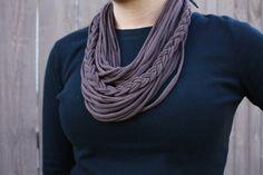 Brown Braided Tshirt scarf. $19.00, via Etsy.