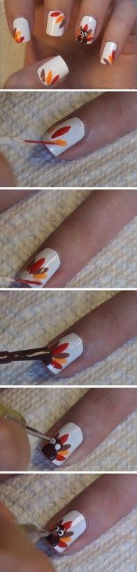 Turkey Feathers Click Pic for 17 Easy Fall Nail Designs for Short Nails Cute Thanksgiving Nail Art Designs for Beginners Cute Nail Art, Easy Nail Art, Cute Nails, Fancy Nails, Trendy Nails, Diy Nails, Thanksgiving Nail Designs, Thanksgiving Nails, Thanksgiving Turkey