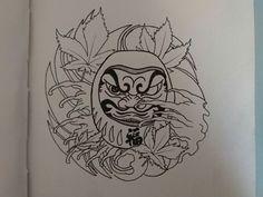 Daruma Japanese Pop Art, Japanese Patterns, Flower Tattoos, Small Tattoos, Daruma Doll Tattoo, Rose Coloring Pages, C Tattoo, Arm Tats, Traditional Ink