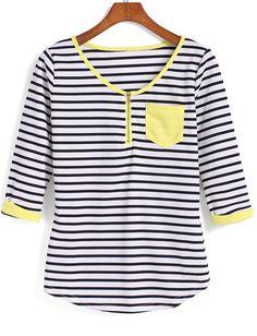 T-Shirt mit Streifen und gelbem Saum-schwarz und weiß- German SheIn(Sheinside)