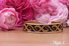 Bracelet manchette doré Lavinia en perles Miyuki : Bracelet par triple-l