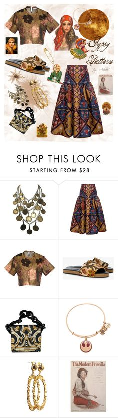 """GYPSY 🍂🎷 PATTERN🏵"" by aralidas ❤ liked on Polyvore featuring Yves Saint Laurent, Stella Jean, Amen, NewbarK, Marques'Almeida, Diamond Star, Alex and Ani, Gypsy, stripesonstripes and PatternChallenge"