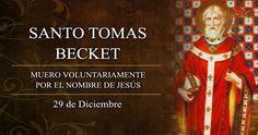 """""""Muero voluntariamente por el nombre de Jesús y en defensa de la Iglesia"""", dijo Santo Tomás Becket de Canterbury antes de morir como mártir y fiel a la Iglesia por oponerse a las intenciones del rey de Inglaterra de controlar a la Iglesia local. Su fiesta es cada 29 de diciembre."""