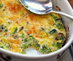 Broccoli, Mushroom, Egg, and Cheese Breakfast Casserole