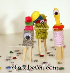 Manualidades para niños Halloween/ bichitos divertidos con pinzas de madera