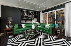 Black and White Living Room with Green Couch