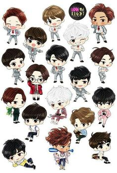 Find images and videos about kpop, exo and baekhyun on we heart it - the ap Kpop Drawings, Cute Drawings, Kpop Exo, Exo Cartoon, Exo Stickers, Exo Anime, Exo Fan Art, Exo Lockscreen, Bts And Exo