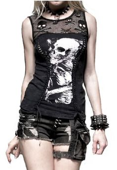 Love the design of the shirt, different skull print would be better though.... Punk Rave Graveyard Tank Top Goth Skull Apocalyptic Rock