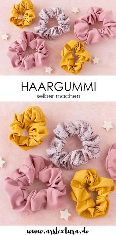Sew scrunchie out of scraps of fabric - Haargummi Scrunchie aus Stoffresten nähen Sewing instructions: Make a hair tie yourself – sew scrunchie from fabric scraps # fabric scraps Sewing Crafts, Sewing Projects, Knitting Projects, Sewing Diy, Sewing Hacks, Hand Sewing, Diy Projects, Diy Cadeau, Diy Scarf