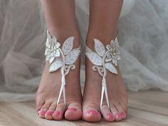 ivory gold frame Beach wedding barefoot sandals by ByVIVIENN