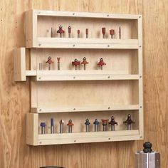 Easy-Access Router-Bit Storage Woodworking Plan from WOOD Magazine Easy Woodworking Projects, Popular Woodworking, Woodworking Furniture, Fine Woodworking, Wood Projects, Woodworking Classes, Woodworking Jointer, Woodworking Machinery, Woodworking Supplies