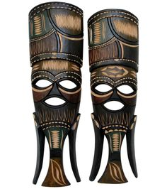 Swazi Hand Carved Masks - A Pair on Chairish.com