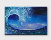 Original big blue wave seascape painting for sitting room or bedroom decor.    Wave painting is painted on mounted canvas with acrylic paint.  Measures: 50 x 75 cm (20 x 30 inches)    The sides are painted so it can be hang with or without a frame.    Guaranteed original!    THANK YOU for your interest in my artwork and taking time to view my listing!    If you have questions or comments about my paintings, please feel free to contact me.    Back to my shop: http://www.etsy.com&#x2F...