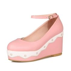 9ce8fb1ac48c73 Vogue009 Womens Closed Round Toe Kitten Heel Wedges Platform PU Soft  Material Assorted Colors Pumps with
