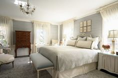 Incredible Master Bedroom Ideas with Wood Floor Concept: Beautiful Master Bedroom Ideas With White And Grey Interior Design With Crystal Chandelier Lighting With Traditional Bedroom Furniture Style ~ SFXit Design Bedroom Inspiration Home Bedroom, Bedroom Furniture, Bedroom Decor, Bedroom Photos, Gray Bedroom, Bedroom Ideas, Calm Bedroom, Blue Bedrooms, Bedroom Lighting