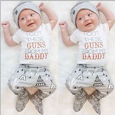 """T-Shirt Short Sleeve and Pants and  Hat Casual Outfit Set. Model Number:T-Shirt Short Sleeve +Pants + HatMaterial:Cotton, PolyesterStyle:CasualSleeve Length:ShortClosure Type:PulloverSleeve Style:RegularCollar:O-Neck """"I GOT THESE GUNS FROM MY DADDY"""""""
