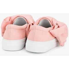 Joshua Sanders denim bow sneakers (£265) ❤ liked on Polyvore featuring shoes, sneakers, almond toe shoes, flat shoes, rubber sole shoes, pink bow shoes and bow flat shoes
