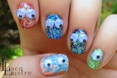 Sally Hansen Fuzzy Coat Nail Art with Googly Eyes- because don't we all want little creatures on our nails?