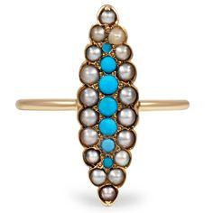 Delicate and feminine Victorian-era ring #turquoise