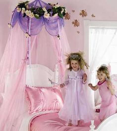 Love this tulle canopy - very cheap and easy to re-create!