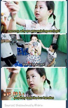 Haru is literally the best girl in this world :''D i love to be her mommy Superman Kids, Kdrama Memes, Kpop Memes, Lee Haru, Korean Shows, 2ne1, Korean Music, Yg Entertainment