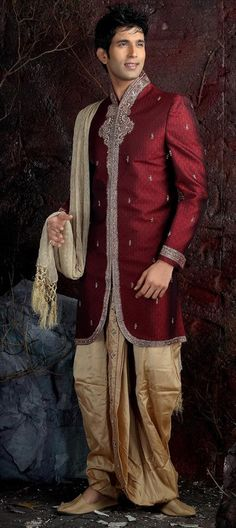 11025, Dhoti Sherwani, Brocade, Border, Bugle Beads, Zardozi, Machine Embroidery, Stone, Red and Maroon Color Family; $222