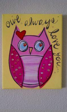 Canvas Art Ideas Acrylics - Cute Owl canvas paint idea for wall decor. Owl Canvas, Kids Canvas, Canvas Art, Canvas Ideas, Painting For Kids, Painting & Drawing, Art For Kids, Heart Painting, Owl Crafts