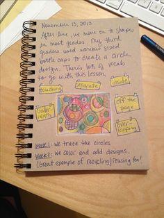 An Art Teacher's Journal. Overlapping circle art using bottle caps. Great for third grade.
