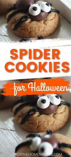 Easy spooky spider cookies for Halloween. My favorite decorated Halloween cookies for Halloween parties! Halloween Treats To Make, Halloween Cookie Recipes, Halloween Cookies Decorated, Halloween Baking, Halloween Desserts, Halloween Parties, Halloween 2020, Halloween Crafts, Halloween Costumes