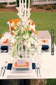 orange and navy table set up   VIA #WEDDINGPINS.NET
