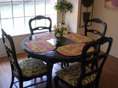 painted black kitchen table and chairs
