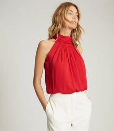 Daniella Red High Neck Sleeveless Top – REISS