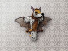 T Trophy letter bat wolf fantastic piece of art made from ricyclingmaterial unusual design gives you a smile extraordinarily crafted EUR) by Monsteralphabet Alphabet, Animal Letters, Handmade Stuffed Animals, Animal Sculptures, Soft Sculpture, Monster, Softies, Textile Art, Fairy Tales