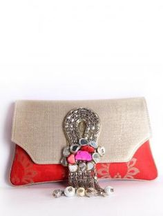 Buy Online Sober Red and Golden Clutch by Pinky Saraf - 2014