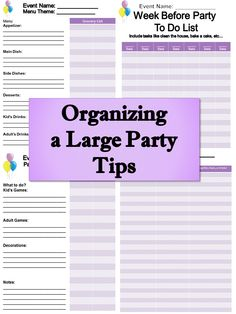 Organizing a large party can be stressful. Here are great tips and checklists to help you get organized. Enjoy.