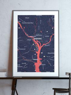 Washington outbreak map| #print #poster #map #outbreak #zombie #newyork #art #decor #home