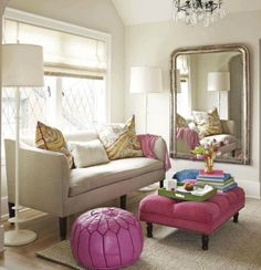 Benjamin Moore - Edgecomb Gray - Natural linen John Derian Cove Sofa Maison Luxe Moroccan Leather Pouf Barbara Barry Lotus Floor Lamp Pottery Barn Chunky Wool and Natural Jute Rug silver mirror gray walls pink tufted bench ottoman French brass tacks Style At Home, Neutral Wall Colors, Neutral Couch, Neutral Walls, Accent Colors, Pink Ottoman, Living Spaces, Living Room, Interiores Design