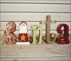 Christmas decoupaged santa wood letters