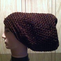 NWOT - Handmade crochet oversize hat Brown Slouchy Crochet Hat, Womens Slouch Beanie, Oversized Slouchy Beanie,  Chunky Hat, Winter Slouchy Hat, braids, natural hair, dreadlocks, Handmade Accessories Hats